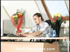 Irene&Gilbert drawing anal pantyhose peel
